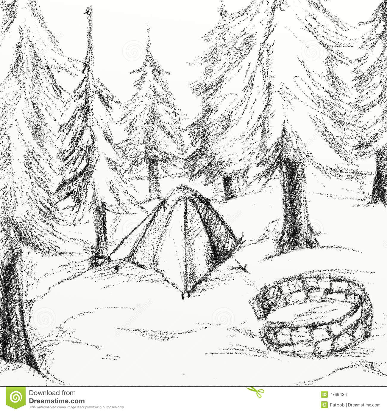 Campsite Drawing Royalty Free Stock Image Image 7769436