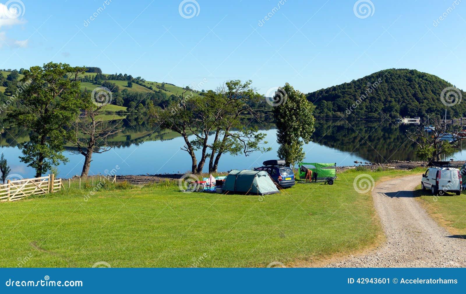 Campsite Tents Ullswater Lake District Cumbria England Uk