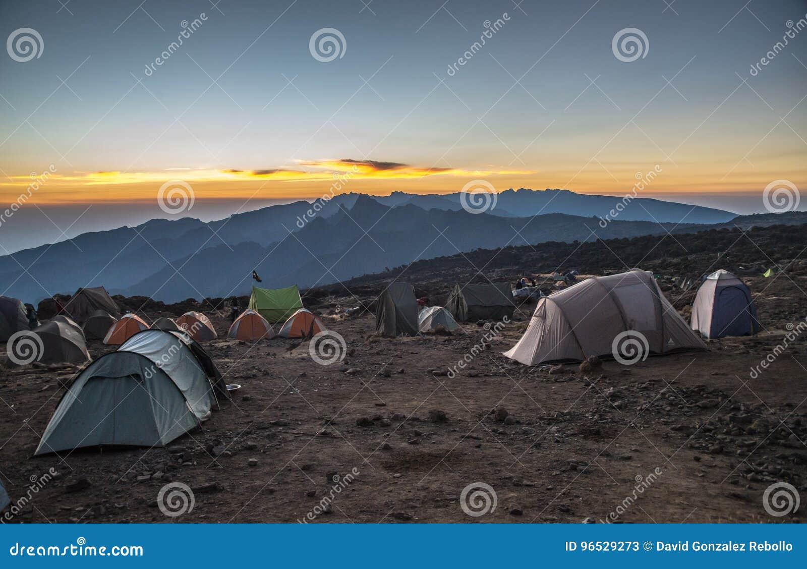 Campsite view in Kilimanjaro Machame route