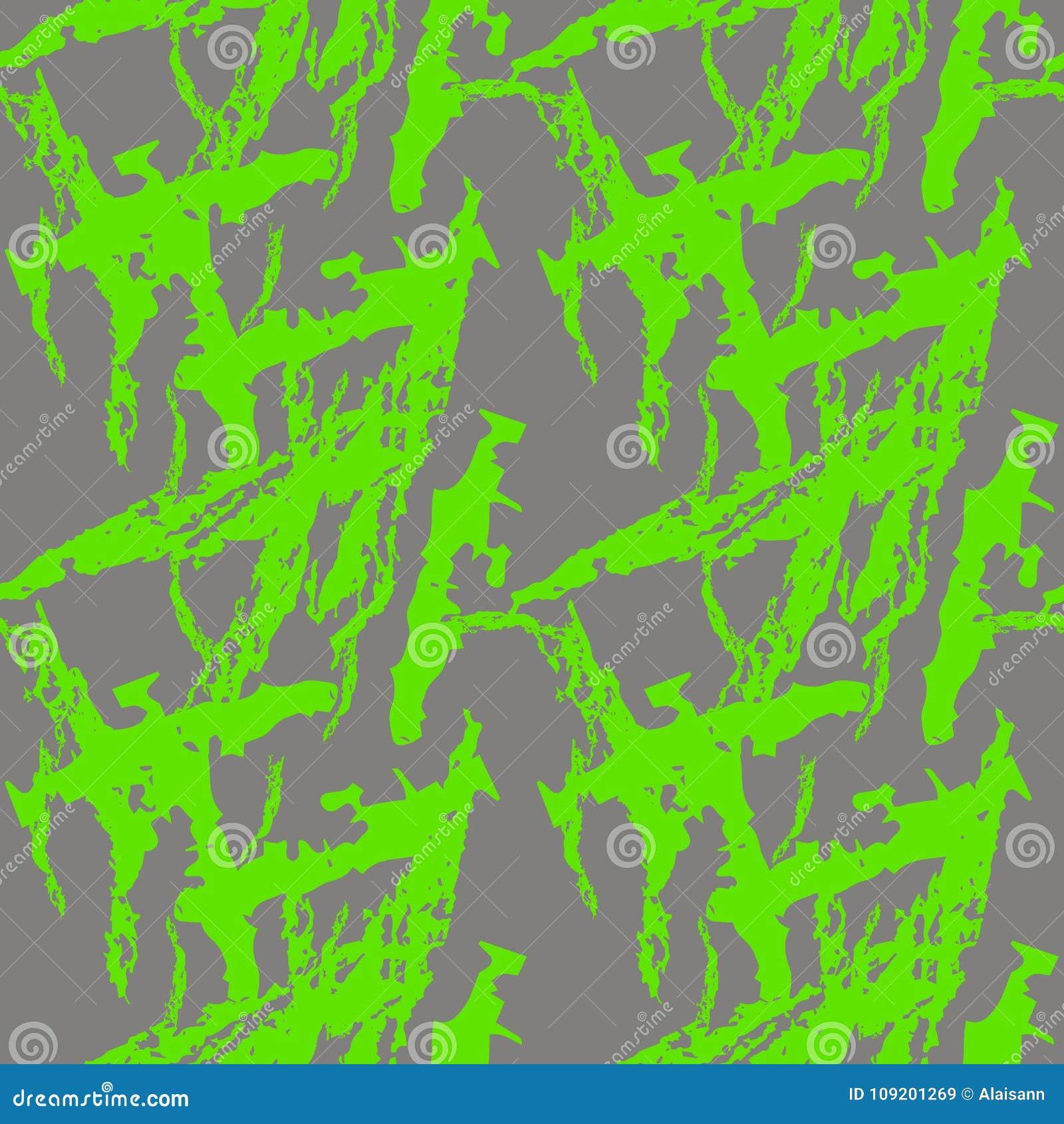 A camuflagem verde e cinzenta de néon do UFO é um teste padrão sem emenda brilhante