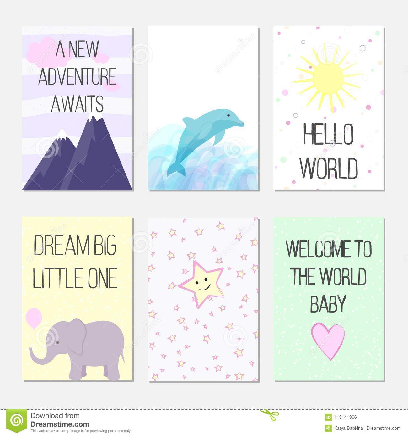 Birthday Cards With Quotes, Cartoon Dolphin And Elephant For Baby ...