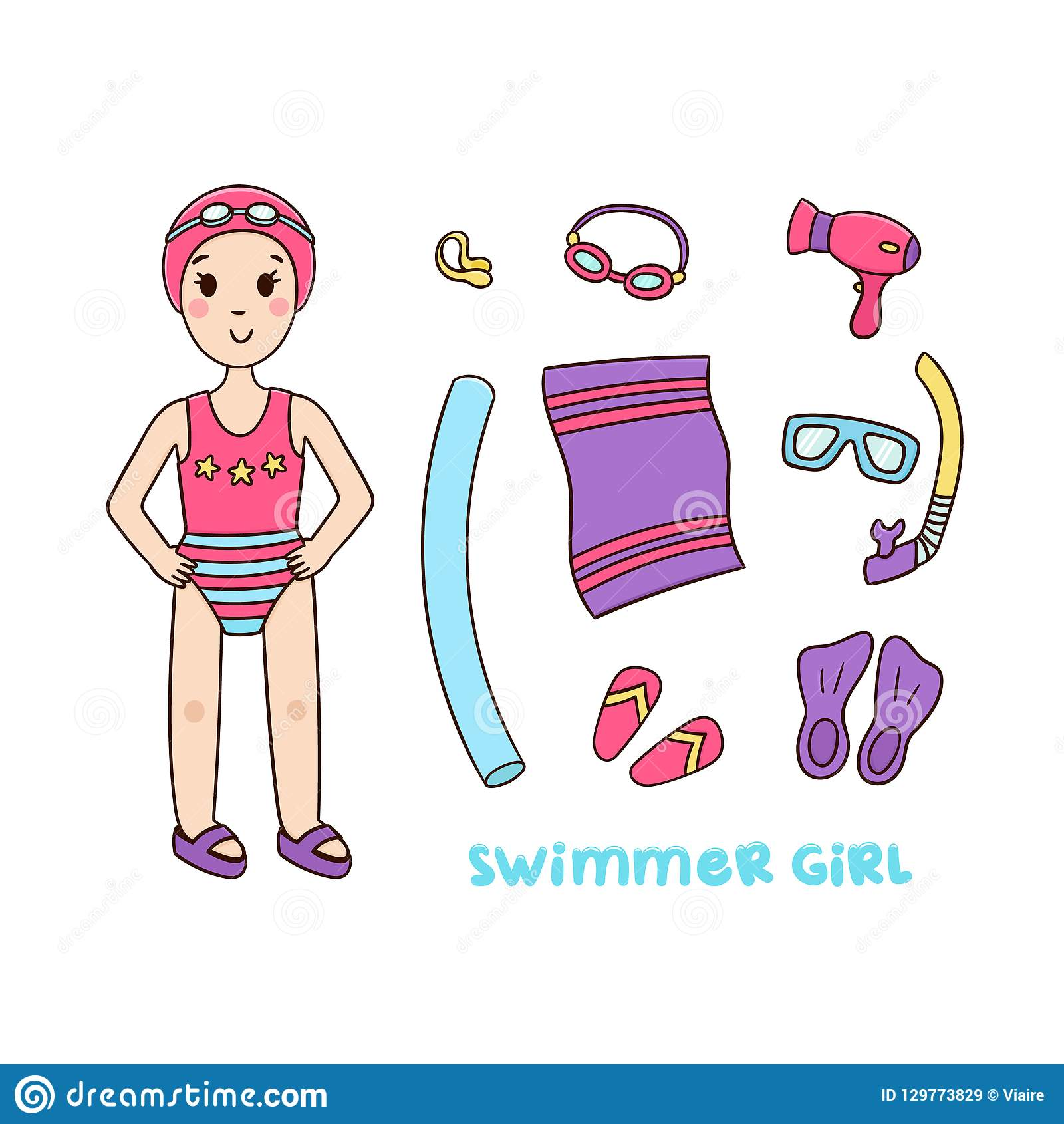 Girl Swimmer And Things For The Pool And Sports Equipment ...