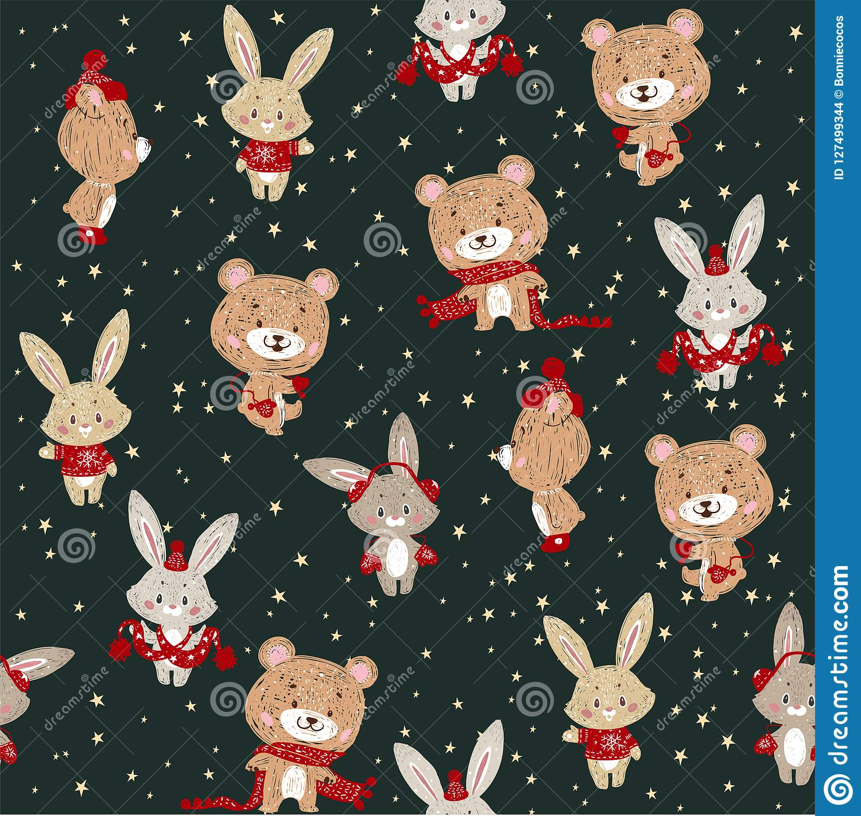 Seamless vector pattern with cute bunny and bear in scarf and hat. Can be used for wallpaper, pattern fills, web page background,