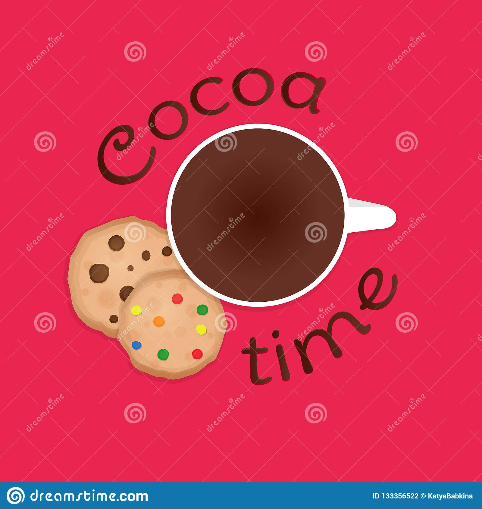 Cozy vector illustration with cup, cookies and text `cocoa time`on pink background.
