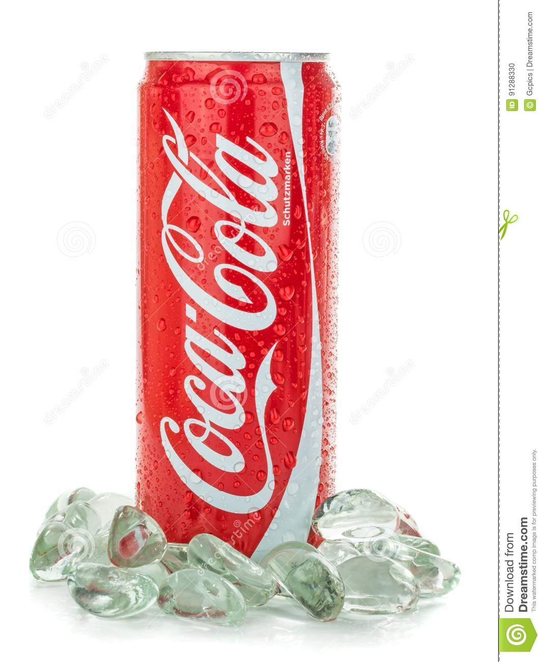 Can of Coca Cola on ice