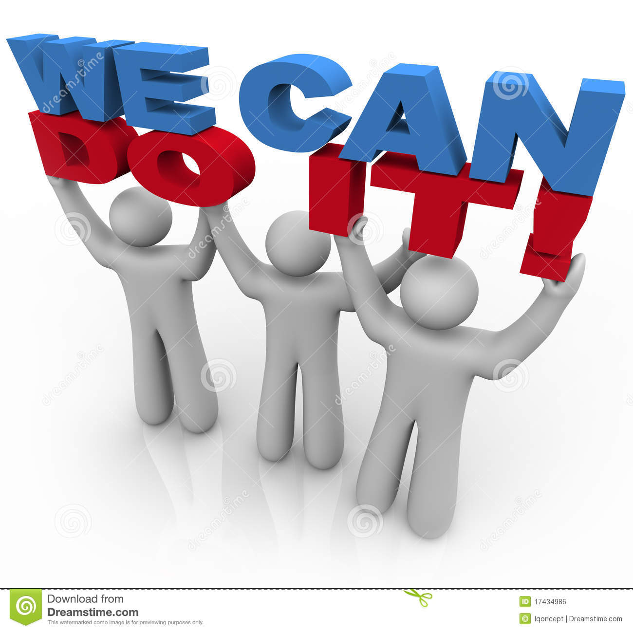 we can do it 3 people lifting words stock illustration