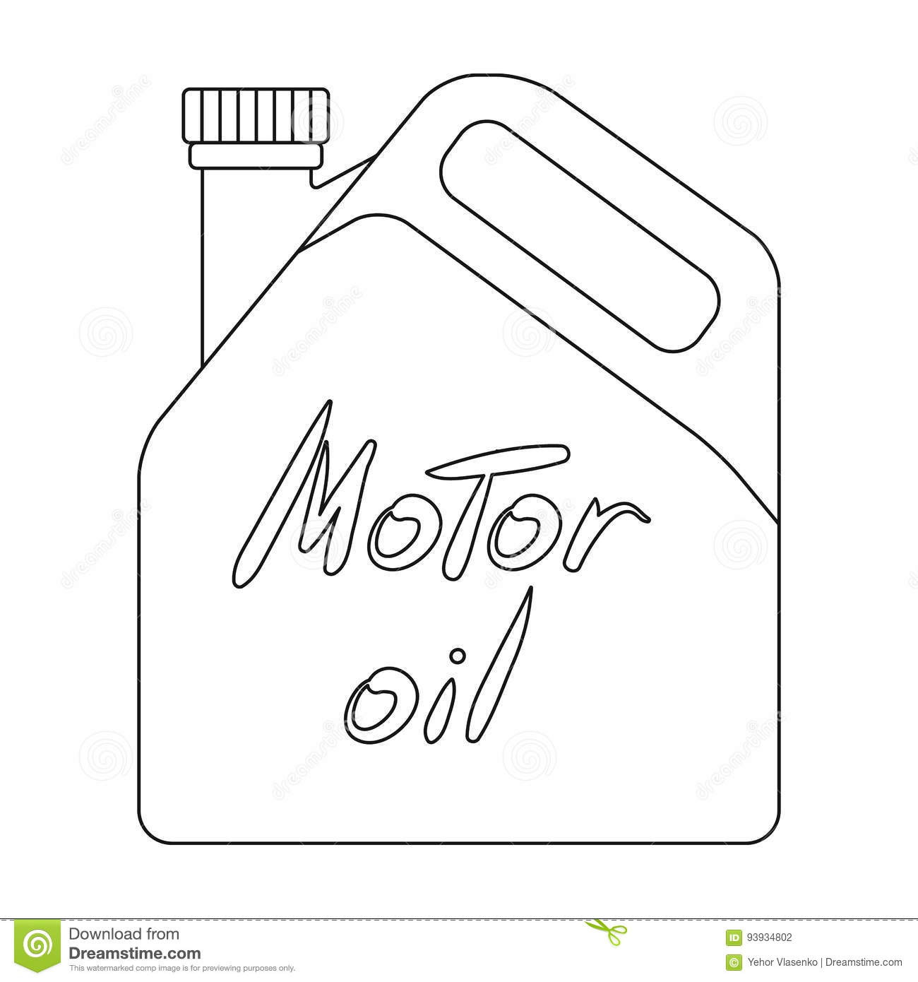 Can Of Engine Oilr Single Icon In Outline Style Vector Symbol