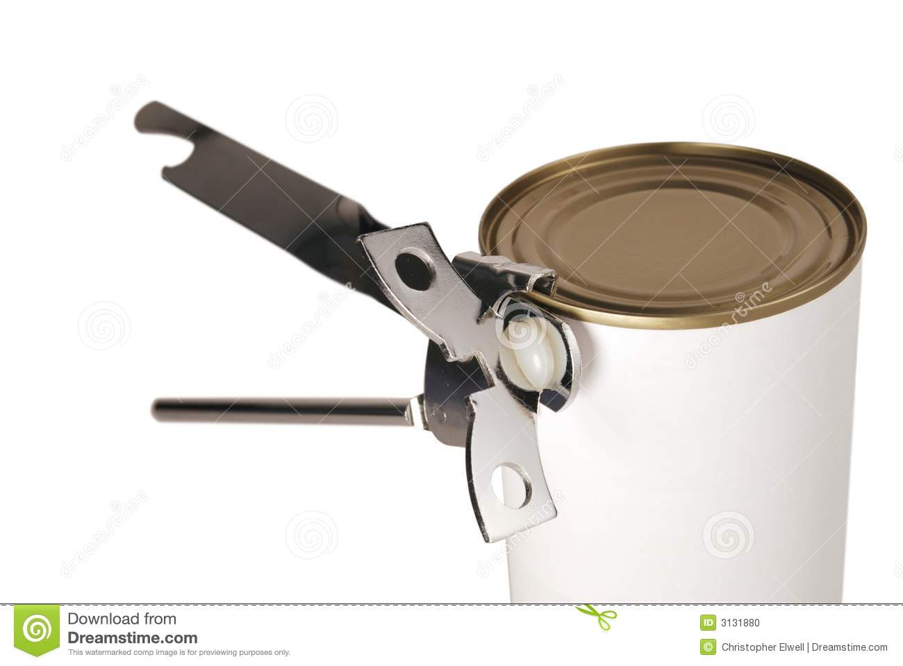 Tin can opener opening a can of food - isolated on white.