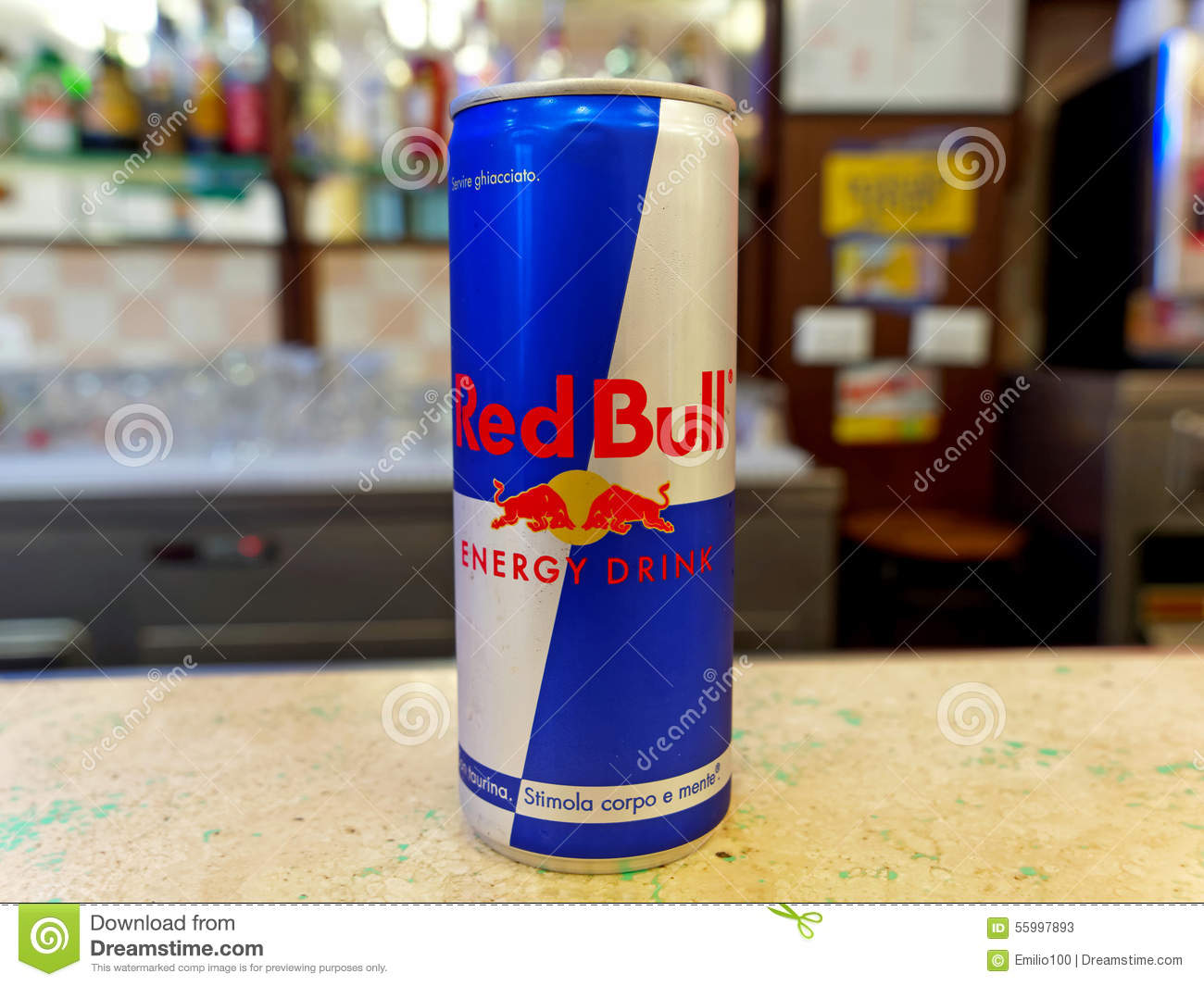 can of red bull energy drink on a bar counter ready to be. Black Bedroom Furniture Sets. Home Design Ideas