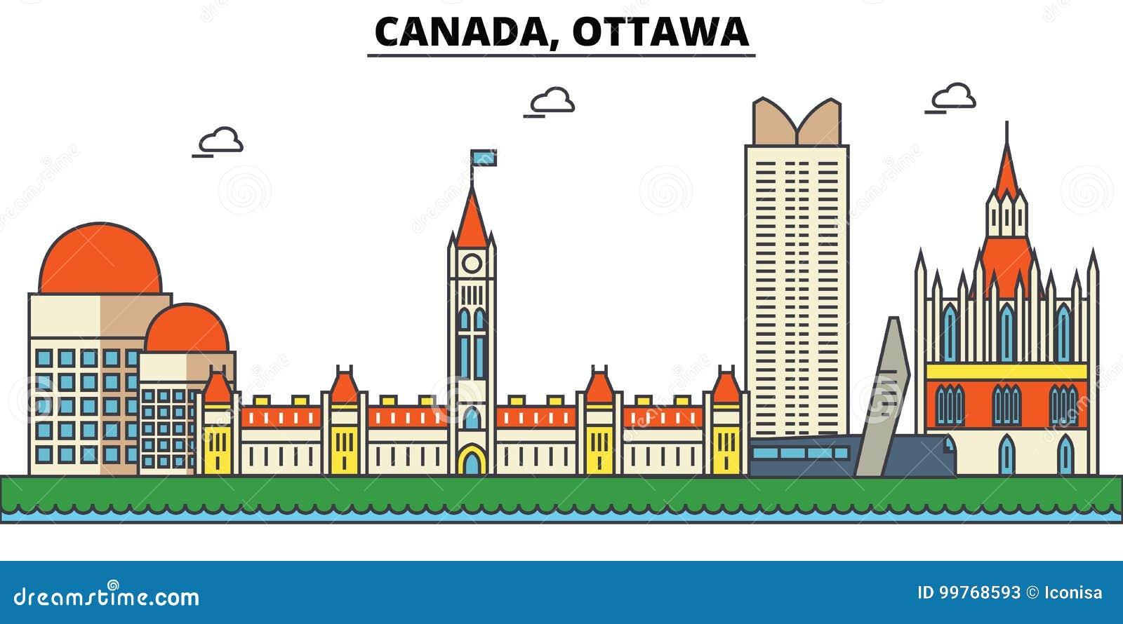 Canadá, Ottawa Arquitectura del horizonte de la ciudad editable