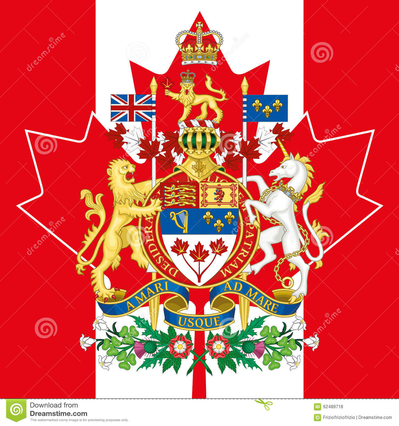 canada coat of arm and flag stock photo image 62489718