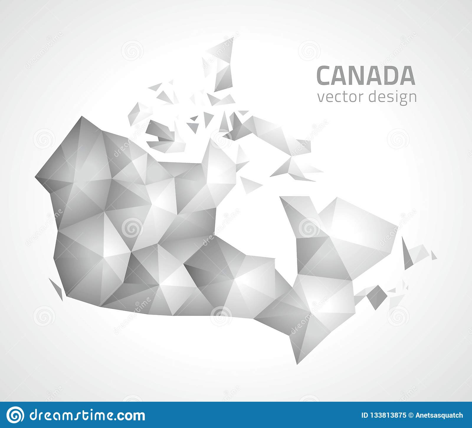 Canada Vector Grey And Silver Polygonal Mosaic 3d Map Stock ...