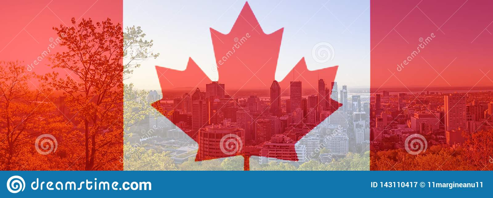 Canada Day flag with maple leaf on background of Montreal city. Red canadian symbol over buildings of Montreal town at Canada