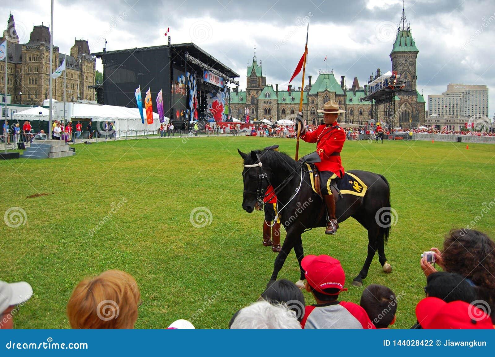 Canada Day RCMP riding horses in Ottawa, Canada