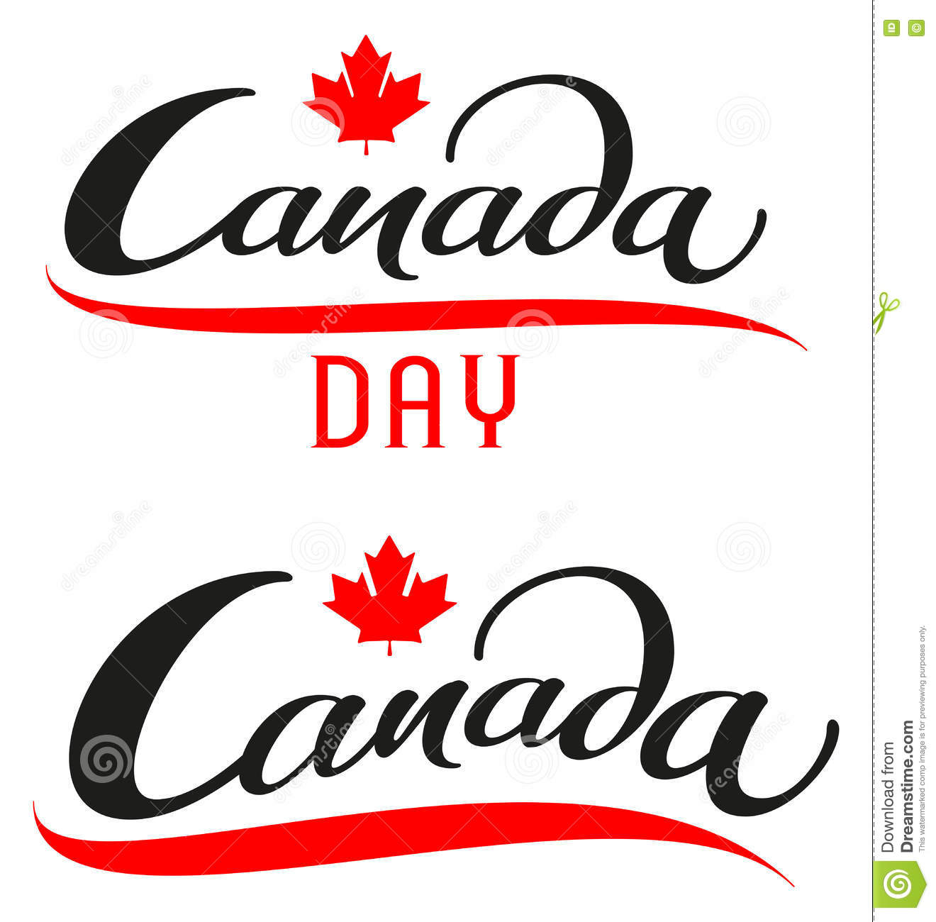 Canada Day Set Lettering Text For Greeting Card Stock Vector