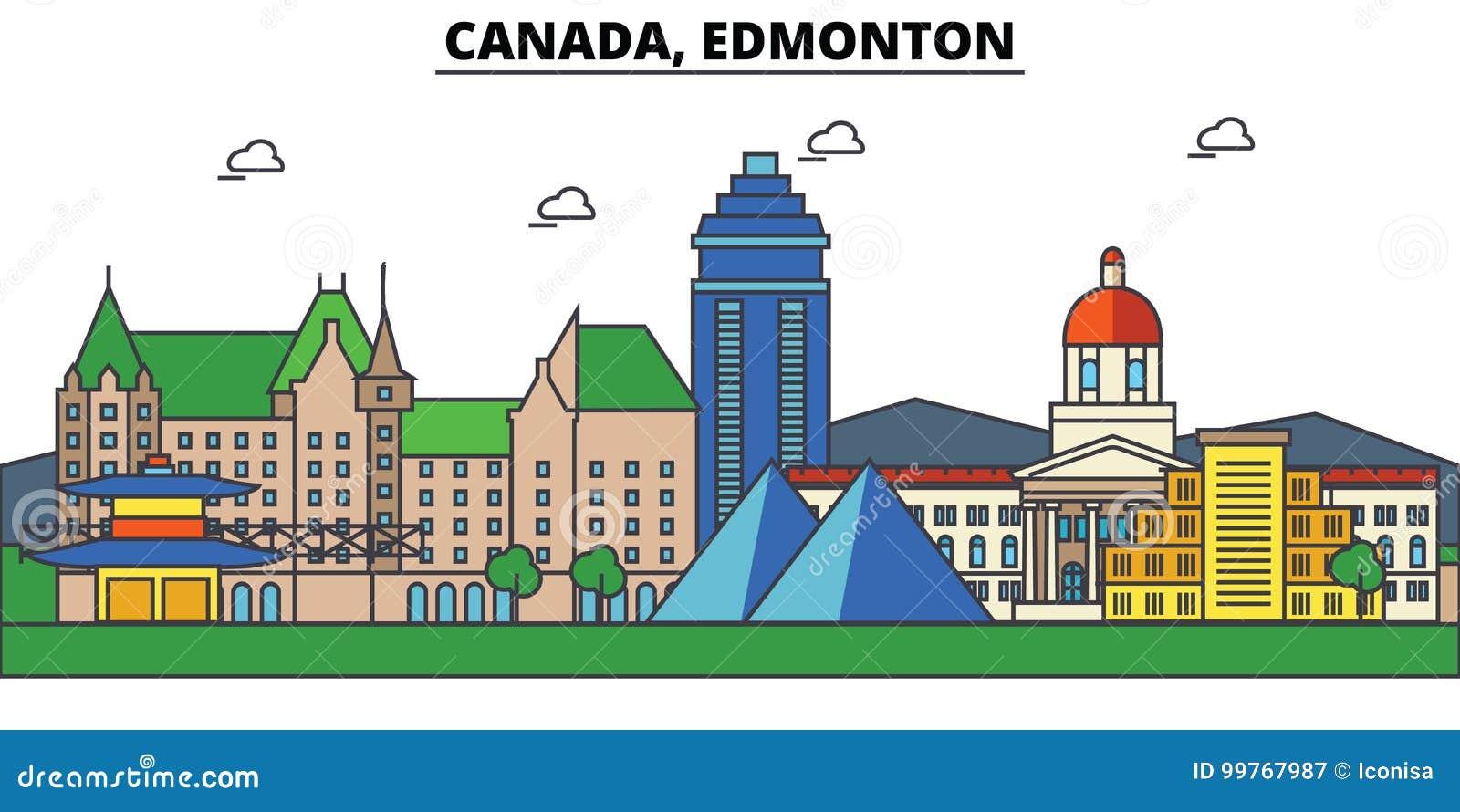 Canada, Edmonton De architectuur Editable van de stadshorizon