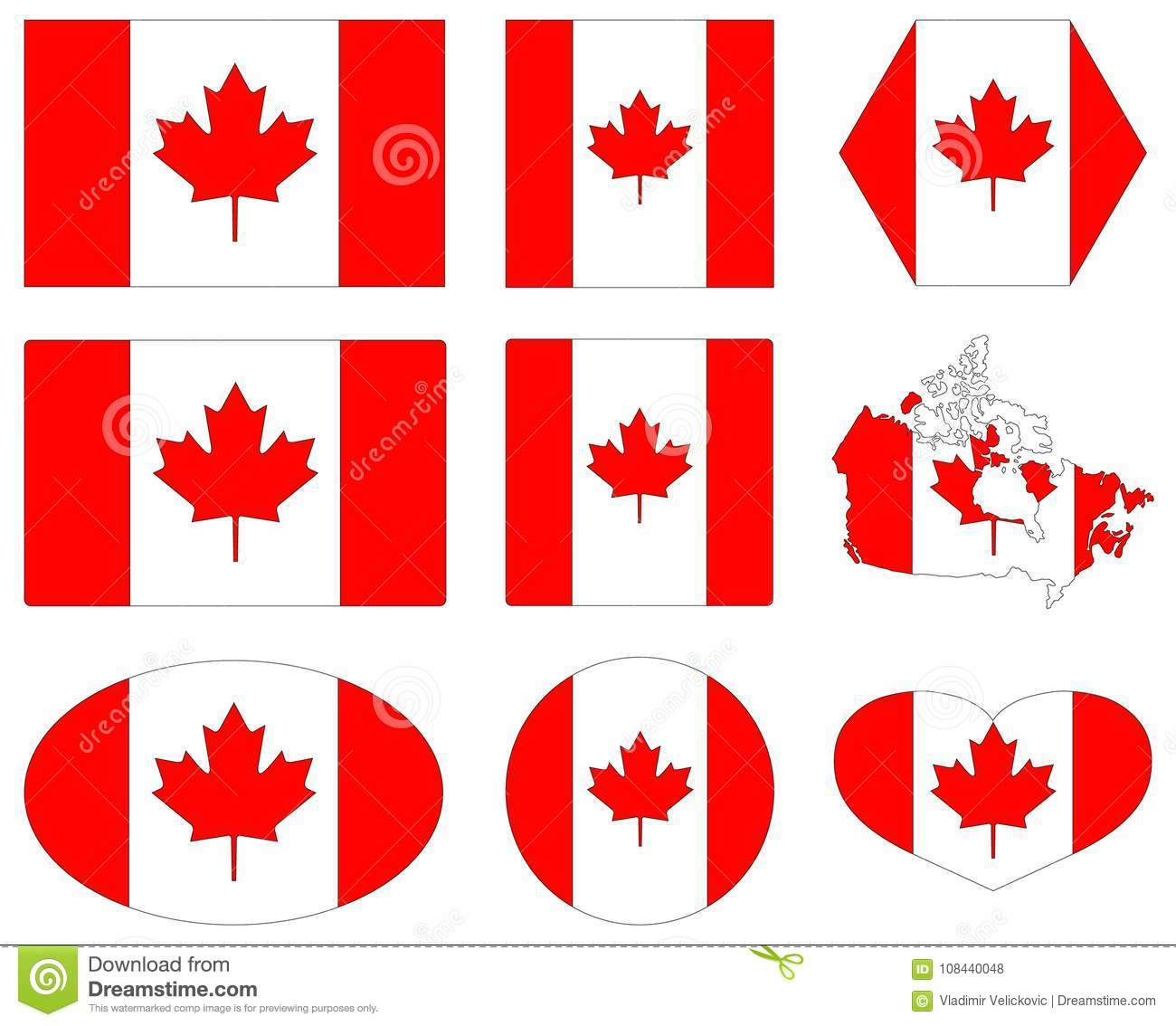 Canada Flag And Map - Country In North America Stock Vector ... on
