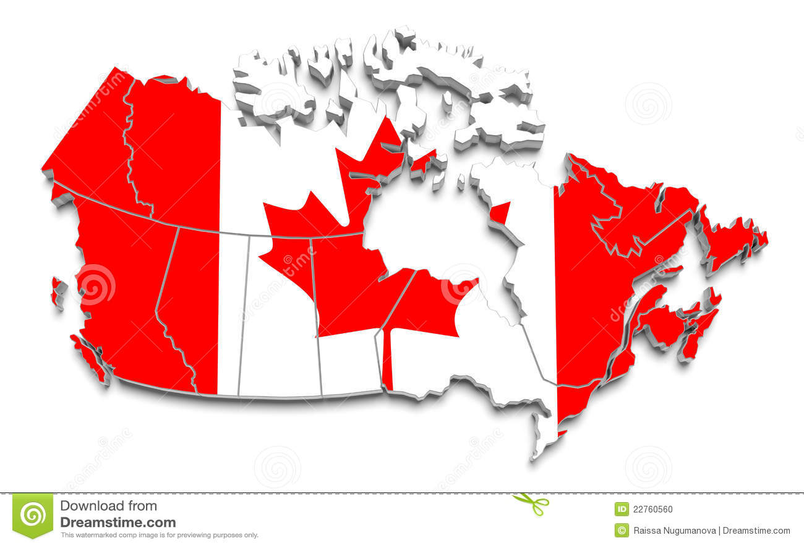 Canada Flag Map On White Isolated Stock Illustration
