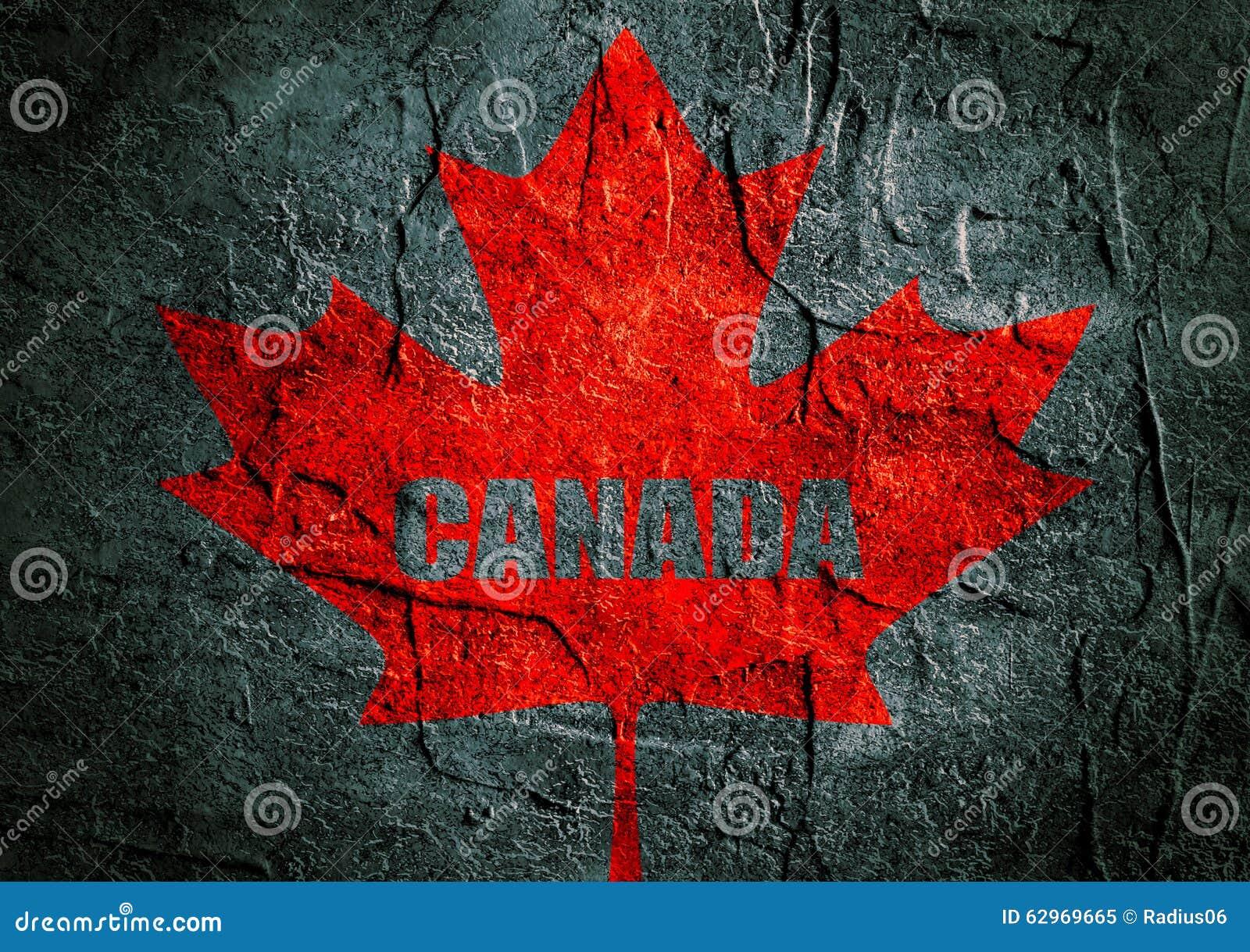 canada flag maple leaf on grunge backdrop stock illustration