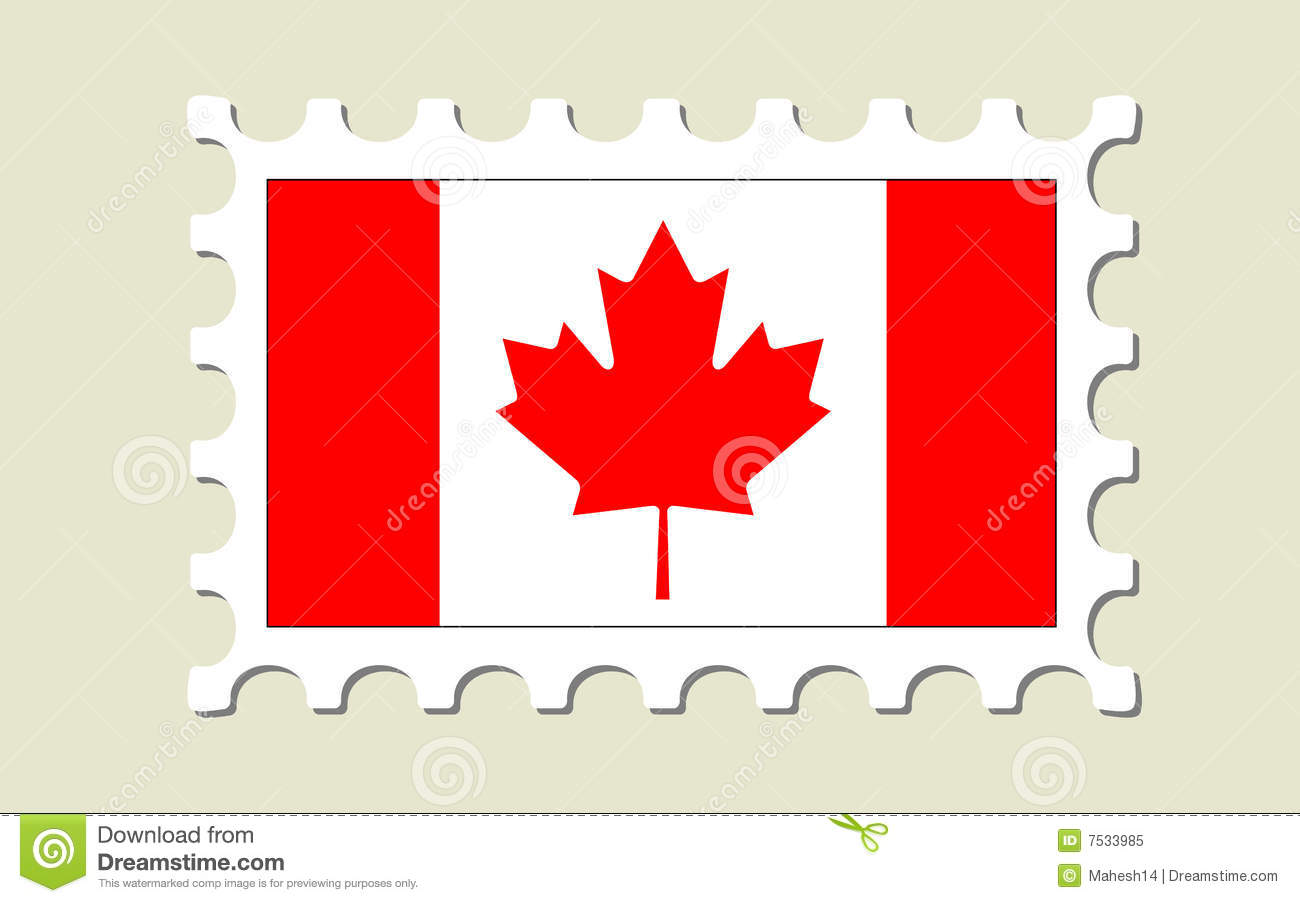 Canada Flag Postage Stamp Stock Vector Illustration Of World 7533985