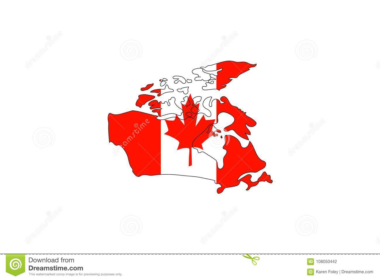 Canada Flag In Shape Of Country Map Stock Vector - Illustration of on
