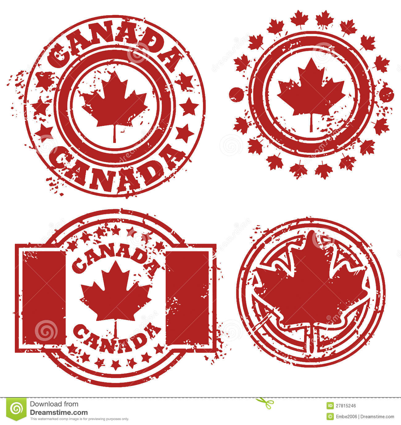 Canada Flag Stamp Royalty Free Stock Image - Image: 27815246