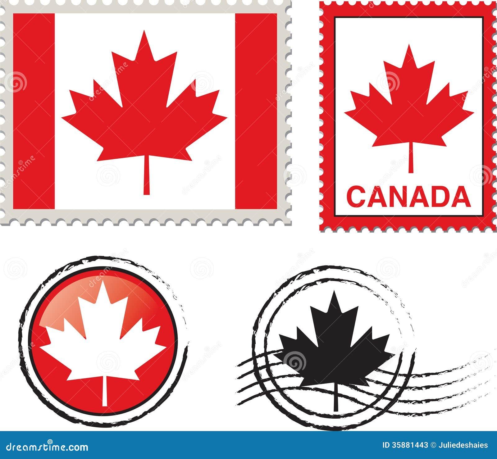 Canada Flag Stamp Stock Photos - Image: 35881443