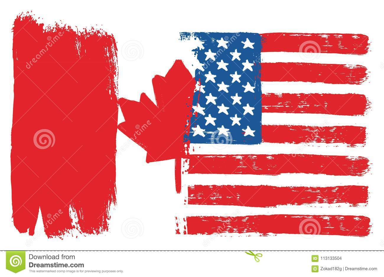 d232a26775c Canada Flag   United States of America Flag Vector Hand Painted with  Rounded Brush