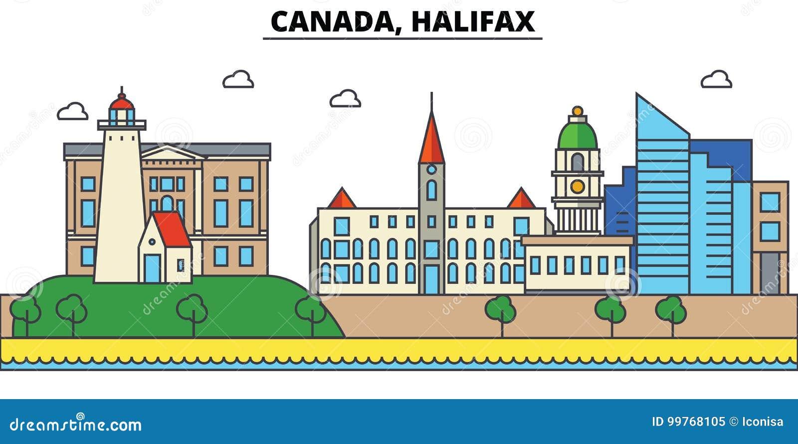 Canada, Halifax De architectuur Editable van de stadshorizon