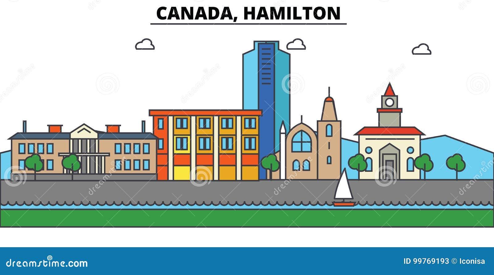 Canada, Hamilton De architectuur van de stadshorizon editable