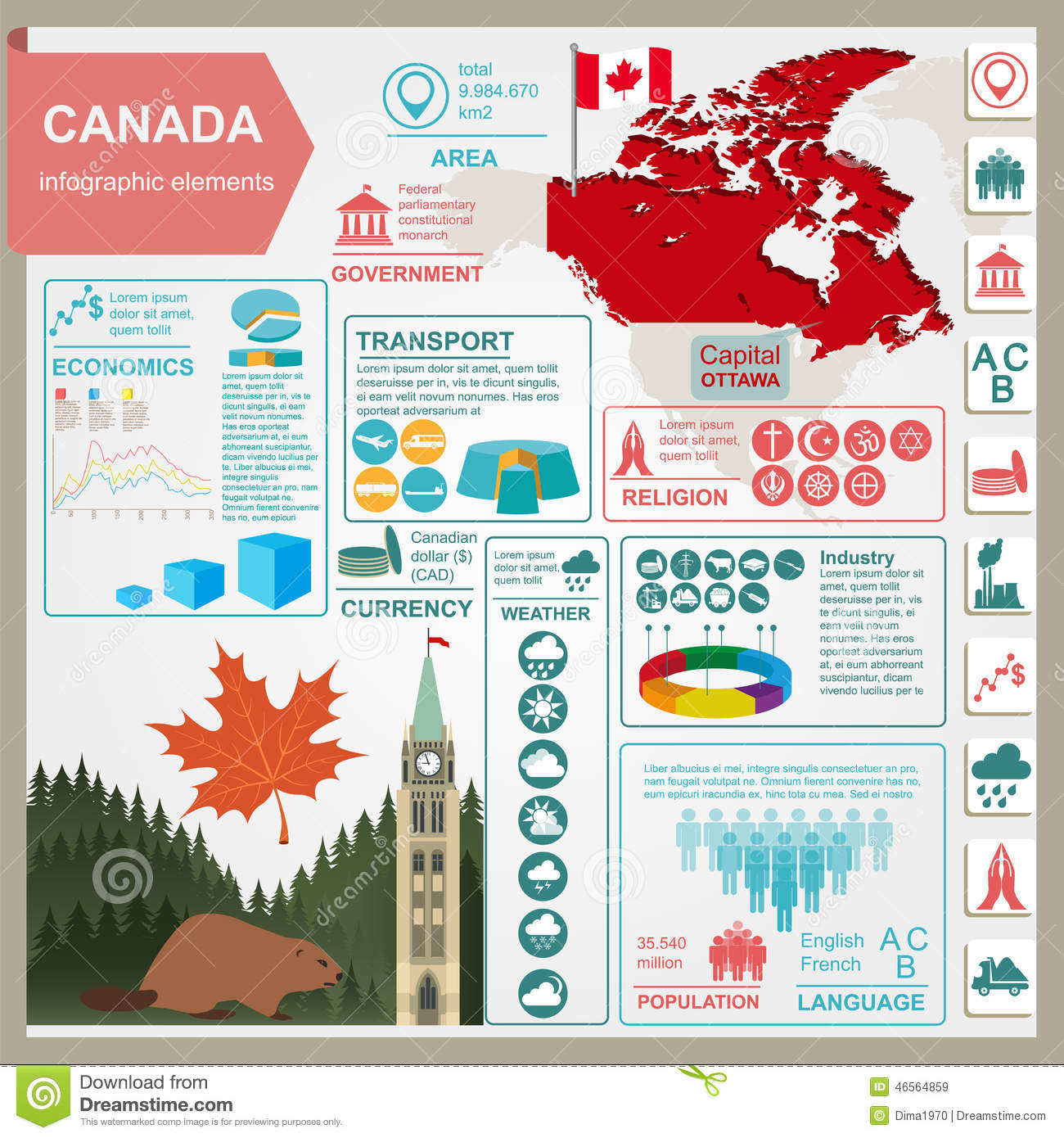 Canada Infographics Statistical Data Sights Stock Vector