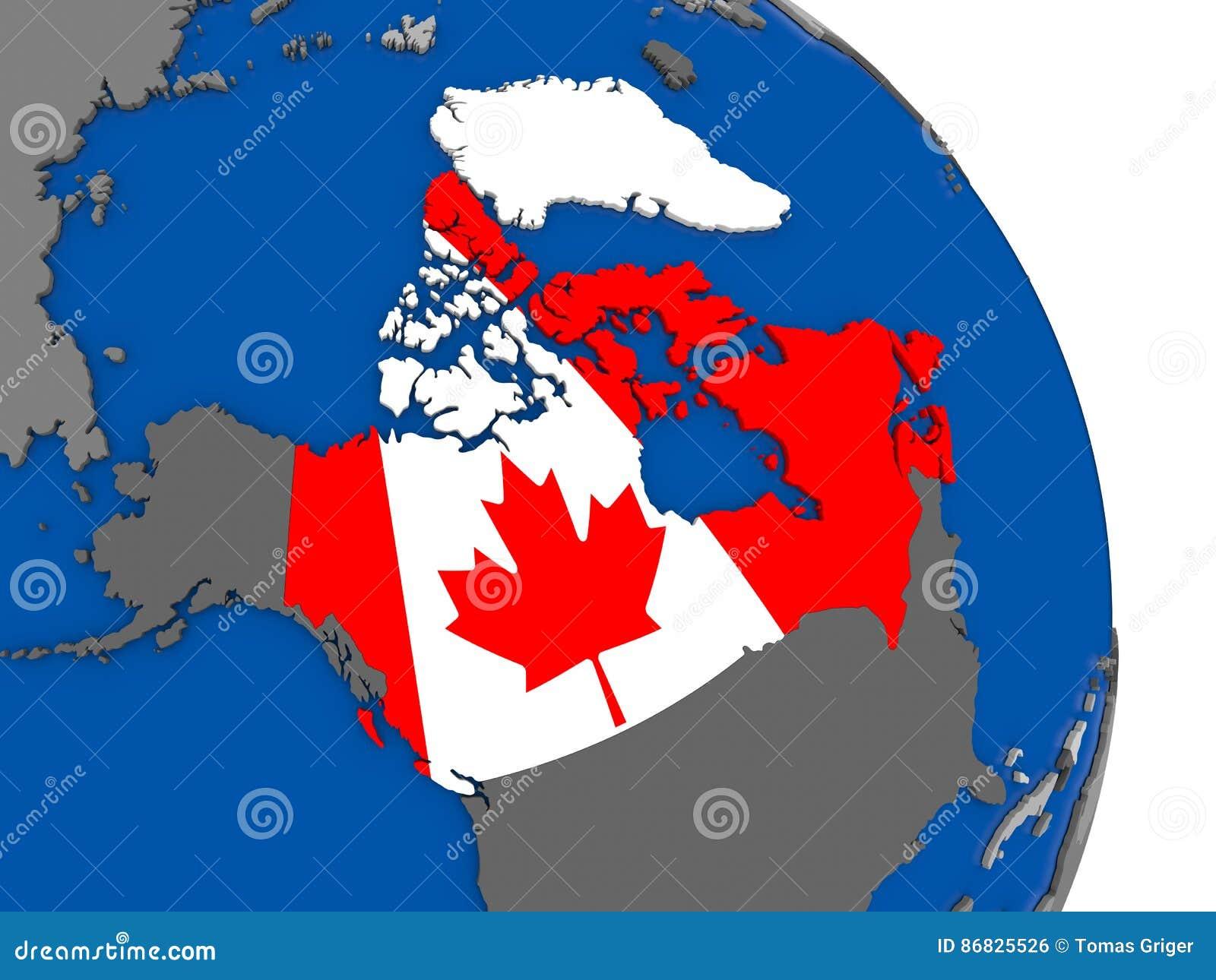 Map Of Canada On Globe.Canada And Its Flag On Globe Stock Illustration Illustration Of