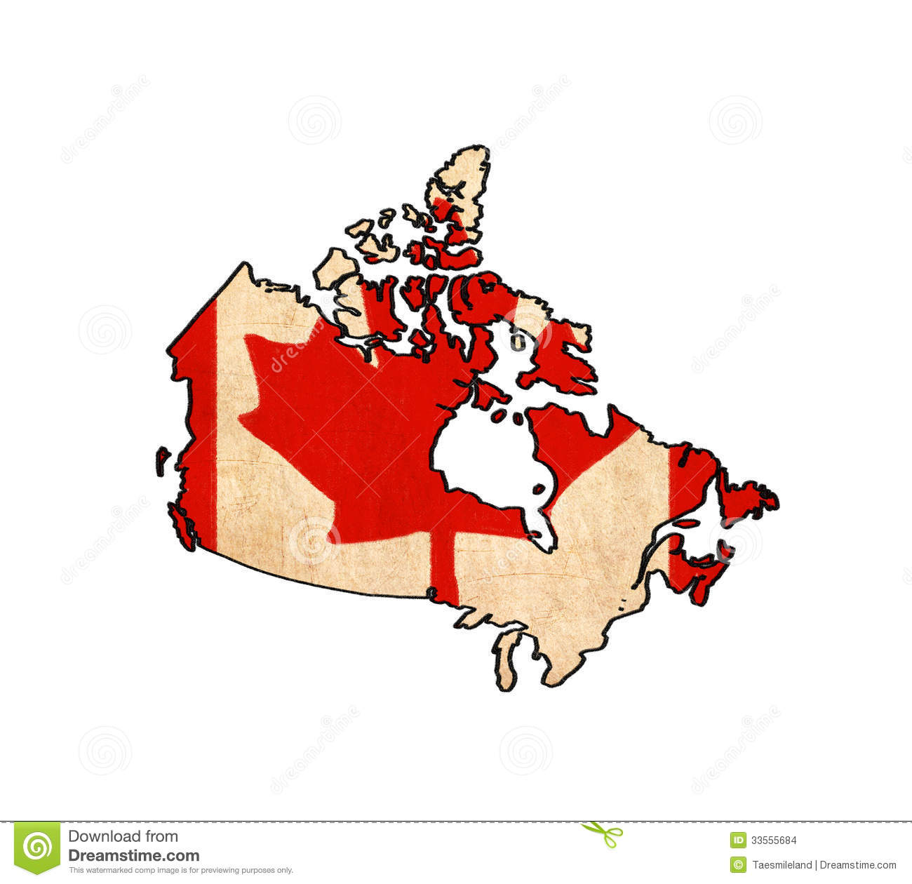 Canada Map On Canada Flag Drawing Stock Images Image - Canada map with flag