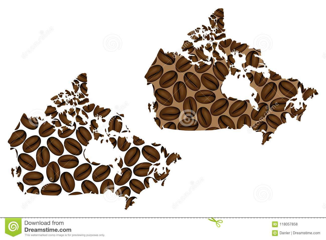 Canada - Map Of Coffee Bean Stock Vector - Illustration of ...