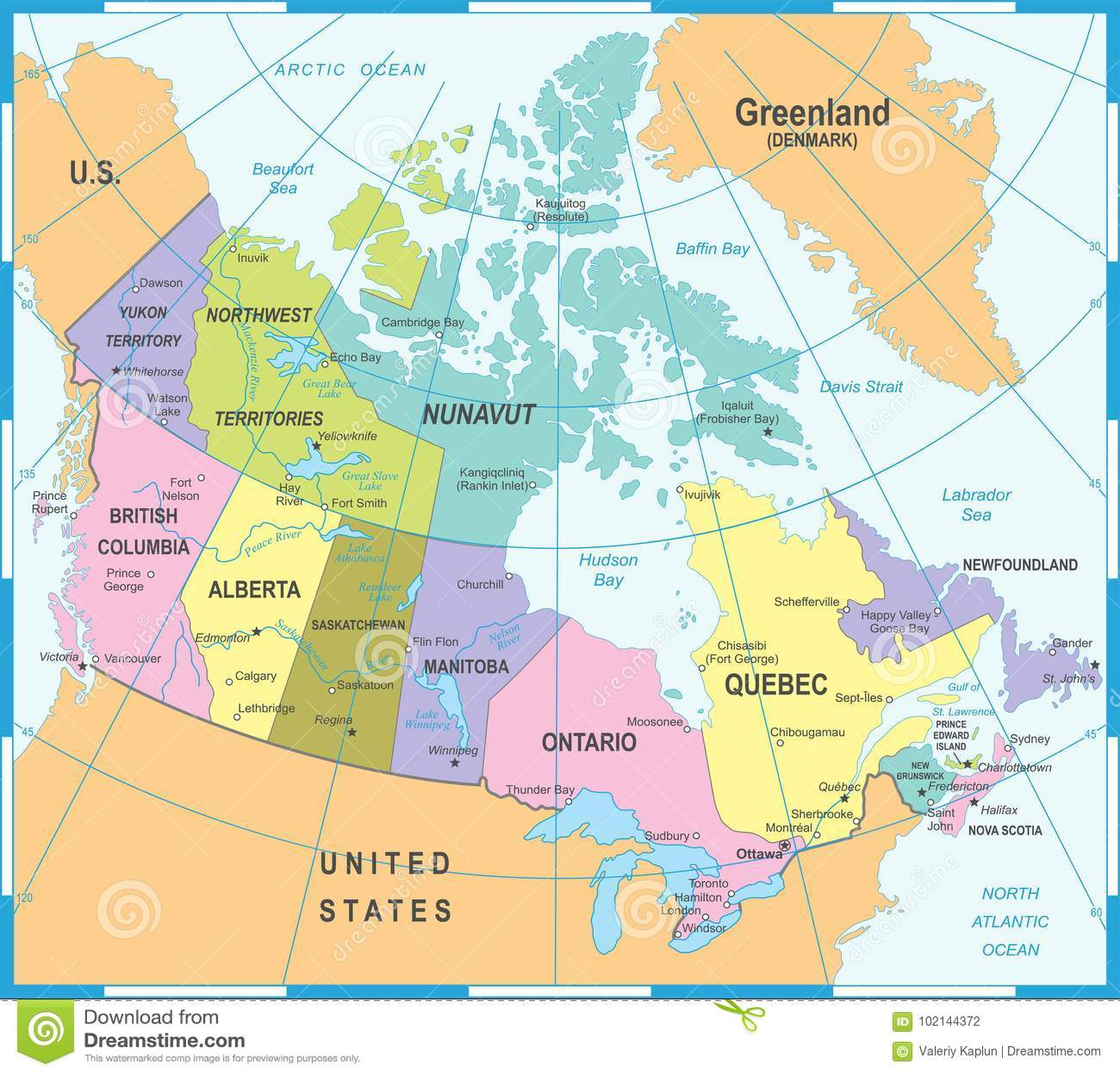 Edmonton On Map Of Canada.Canada Map Vector Illustration Stock Illustration Illustration