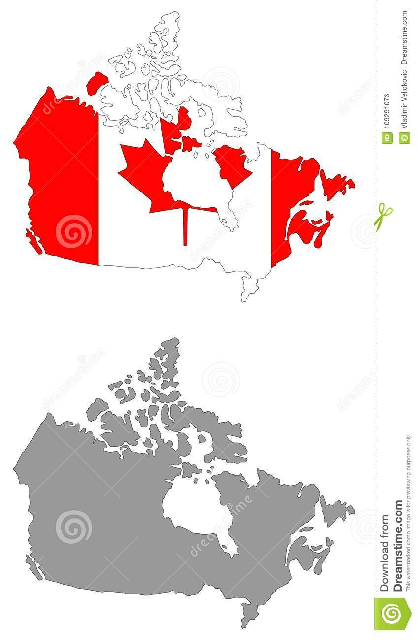 Canada Map Flag.Canada Map And Flag Country In North America Stock Vector