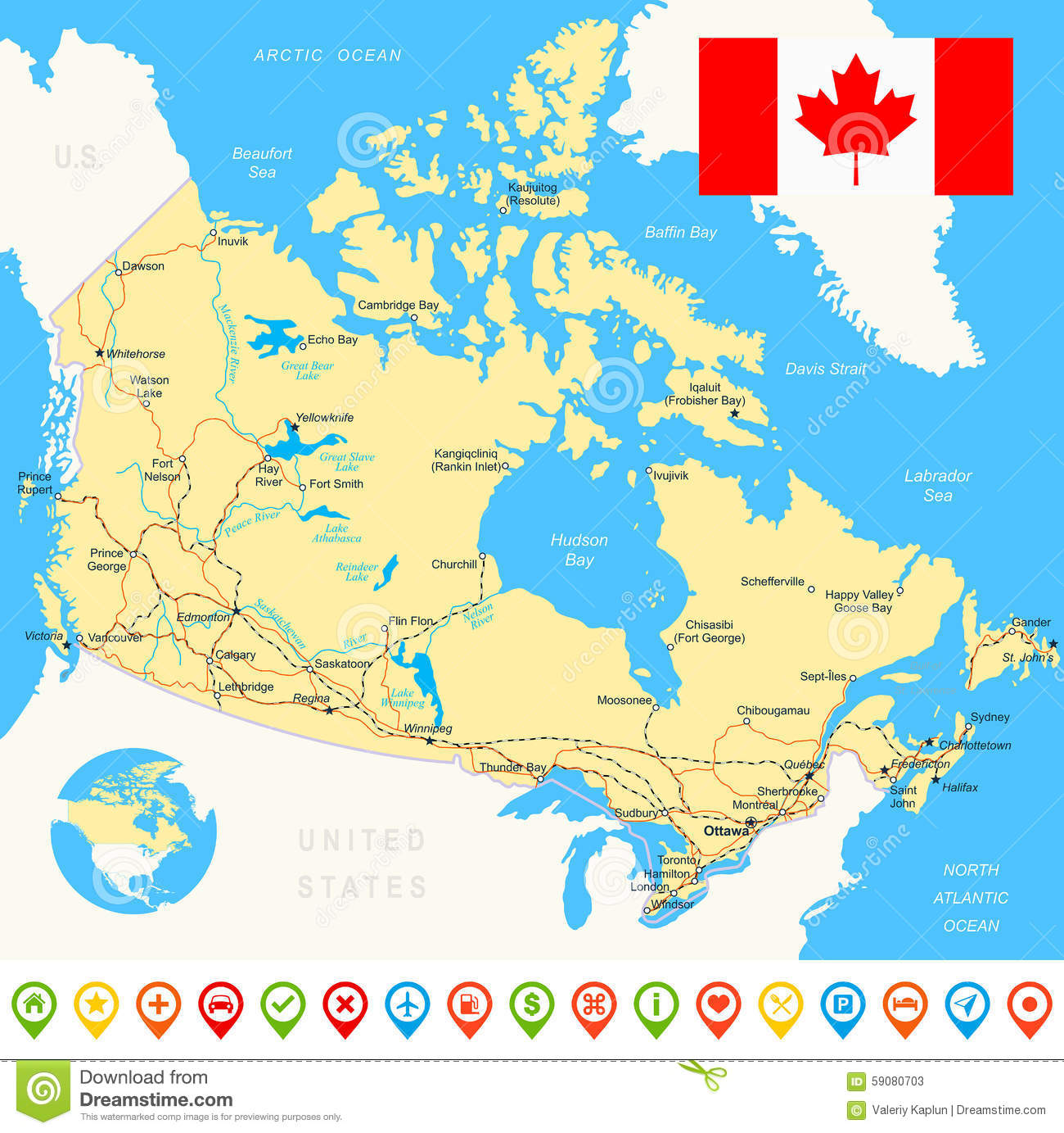 Map Of Canada Roads.Canada Map Flag Navigation Icons Roads Rivers Illustration