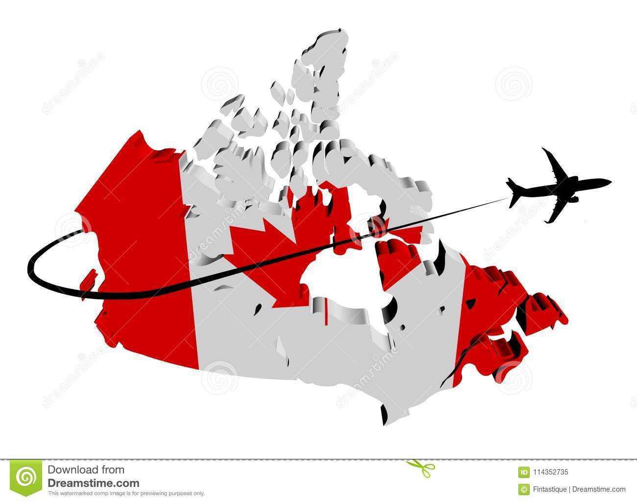 Map Of Canada Silhouette.Canada Map Flag With Plane And Swoosh Illustration Stock