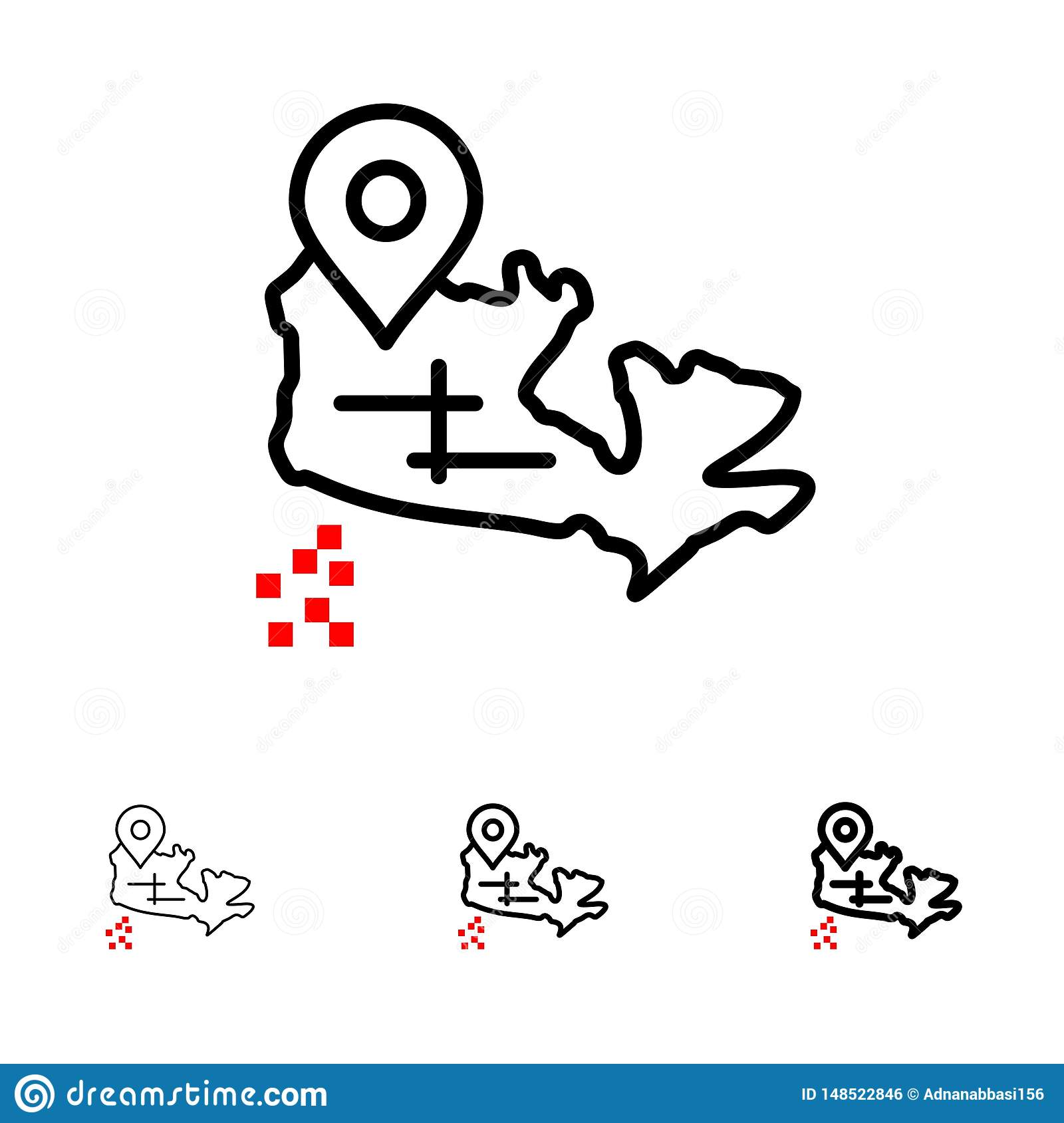 Canada, Map, Location Bold And Thin Black Line Icon Set Stock