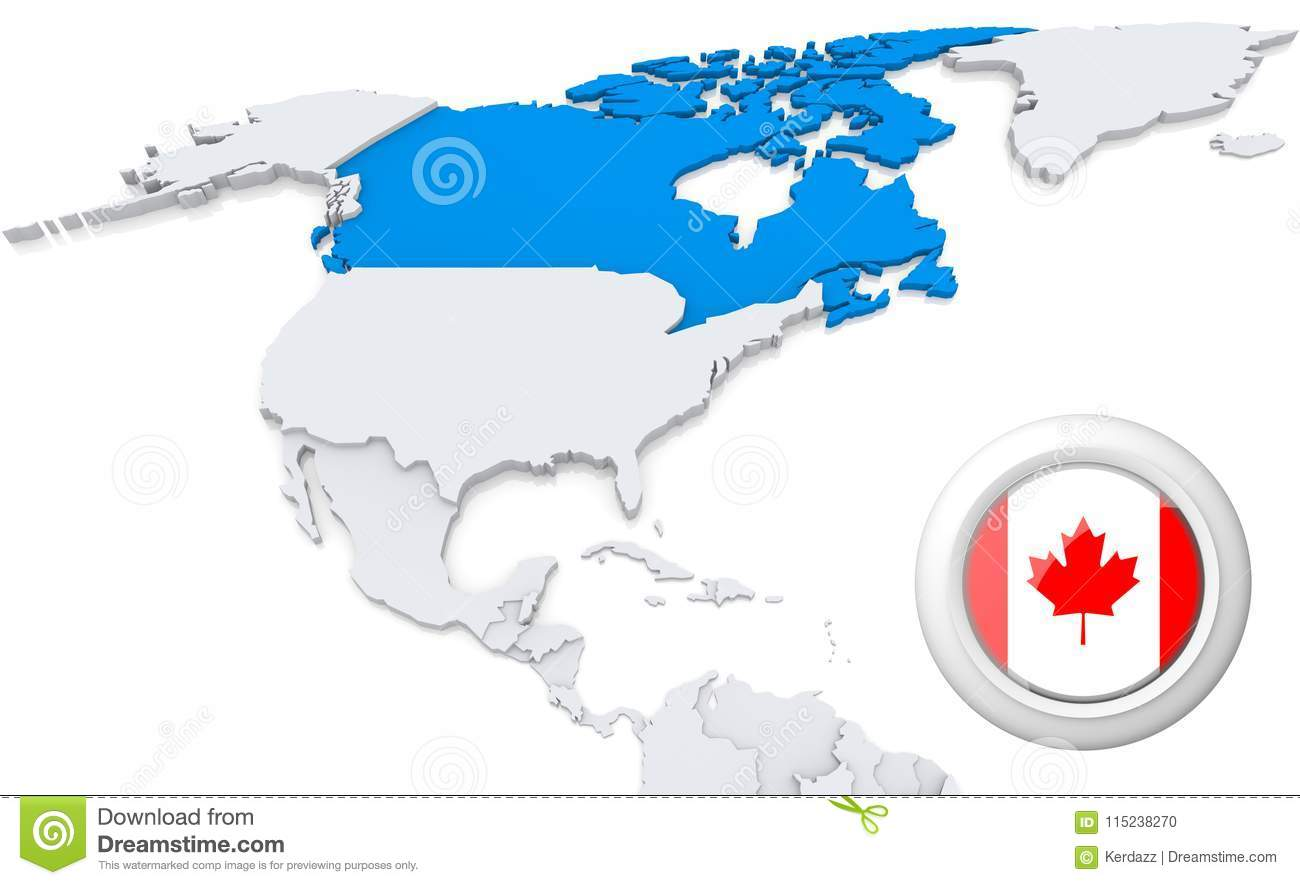 Canada On A Map Of North America Stock Illustration ...