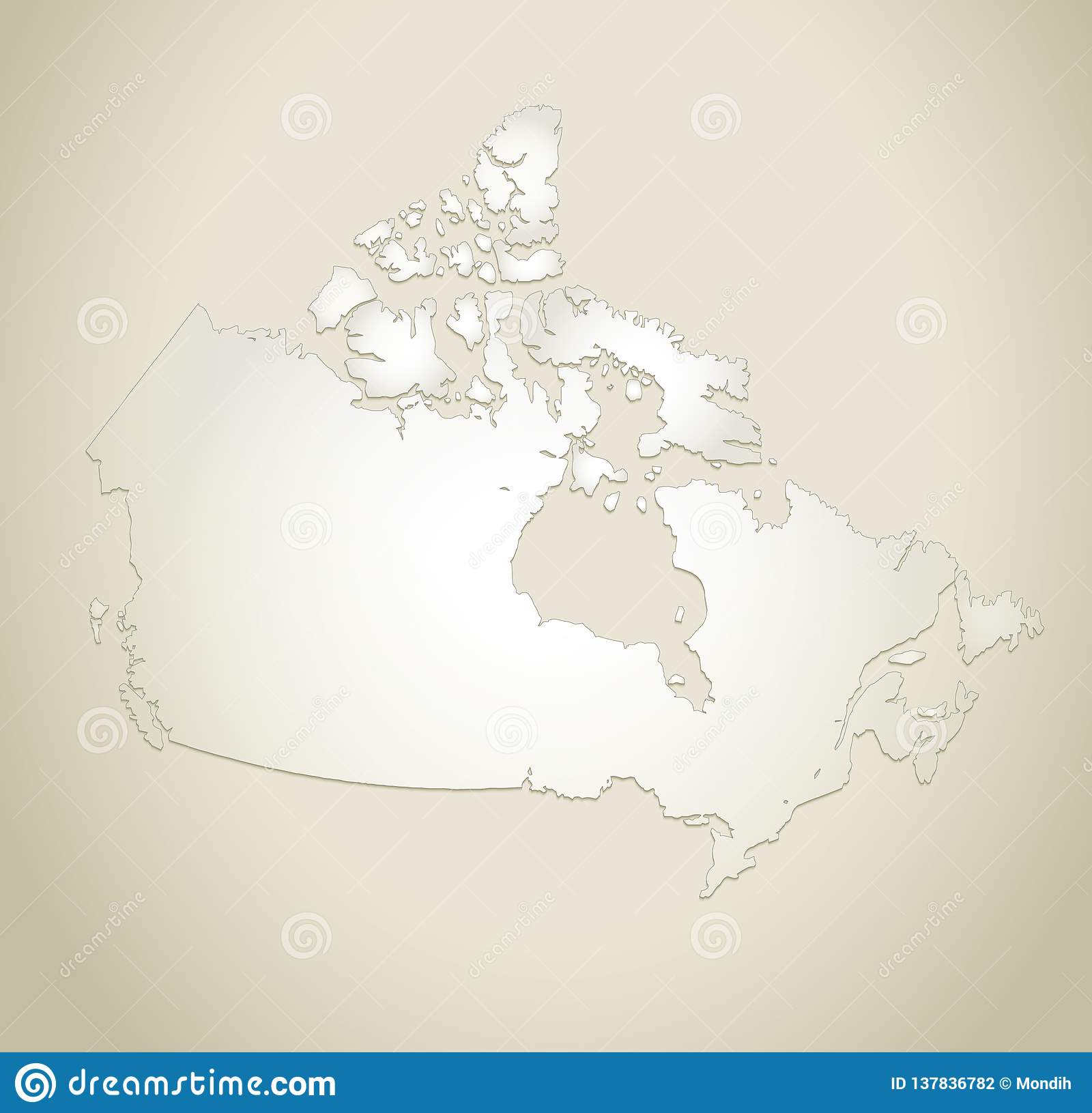 Canada Map Old Paper Background Blank Template Stock Vector ...