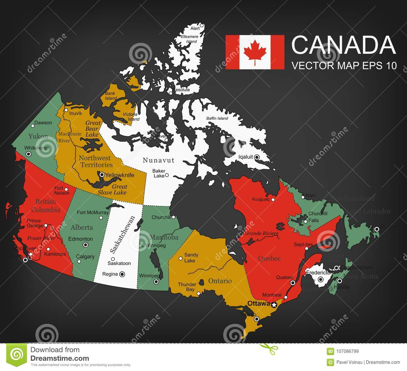 Canada Map With Provinces All Territories Are Selectable Vector