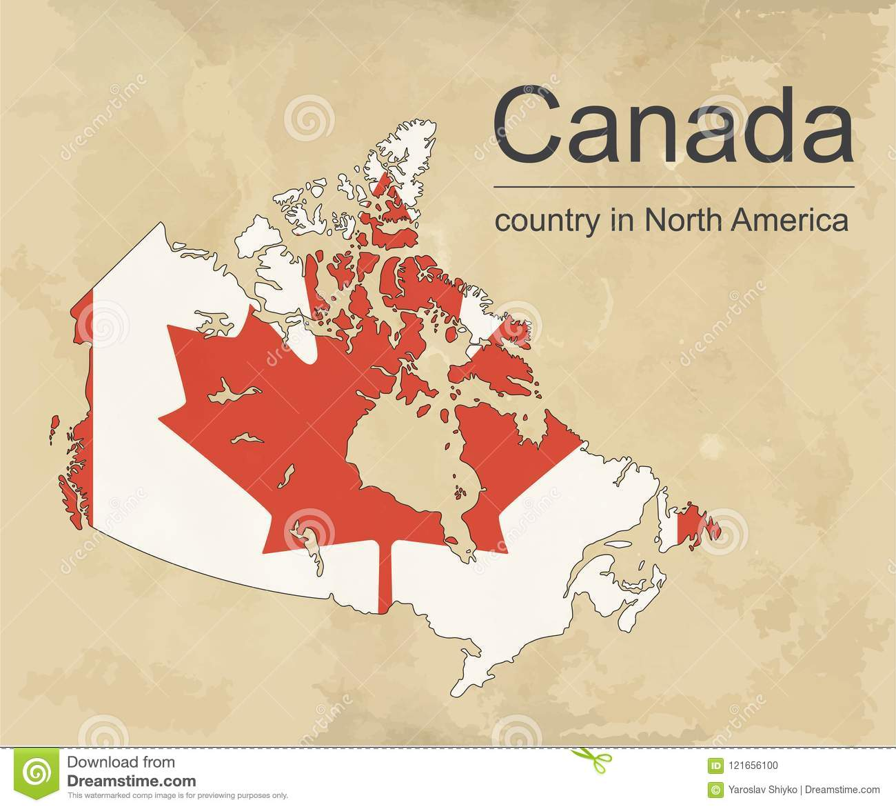 Canada Map With Provinces And Flag Vector Illustrationcanada Map