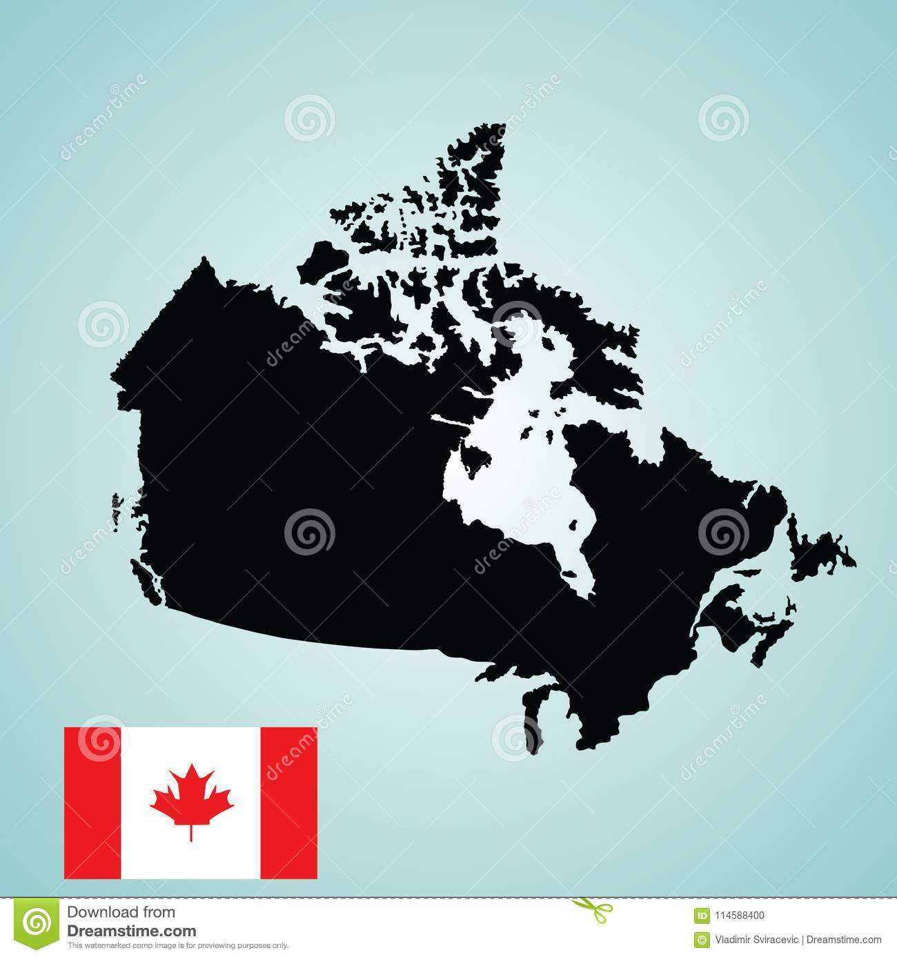 Map Of Canada Silhouette.Canada Map Silhouette And Canada Flag Stock Illustration