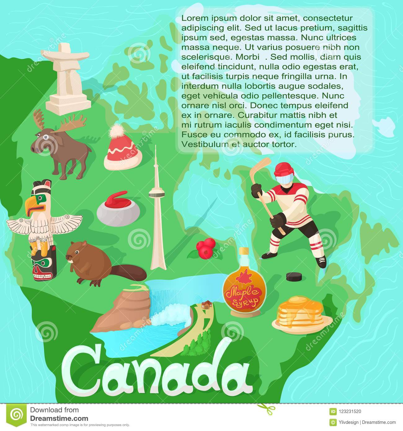 canada map travel and landmark concept stock illustration