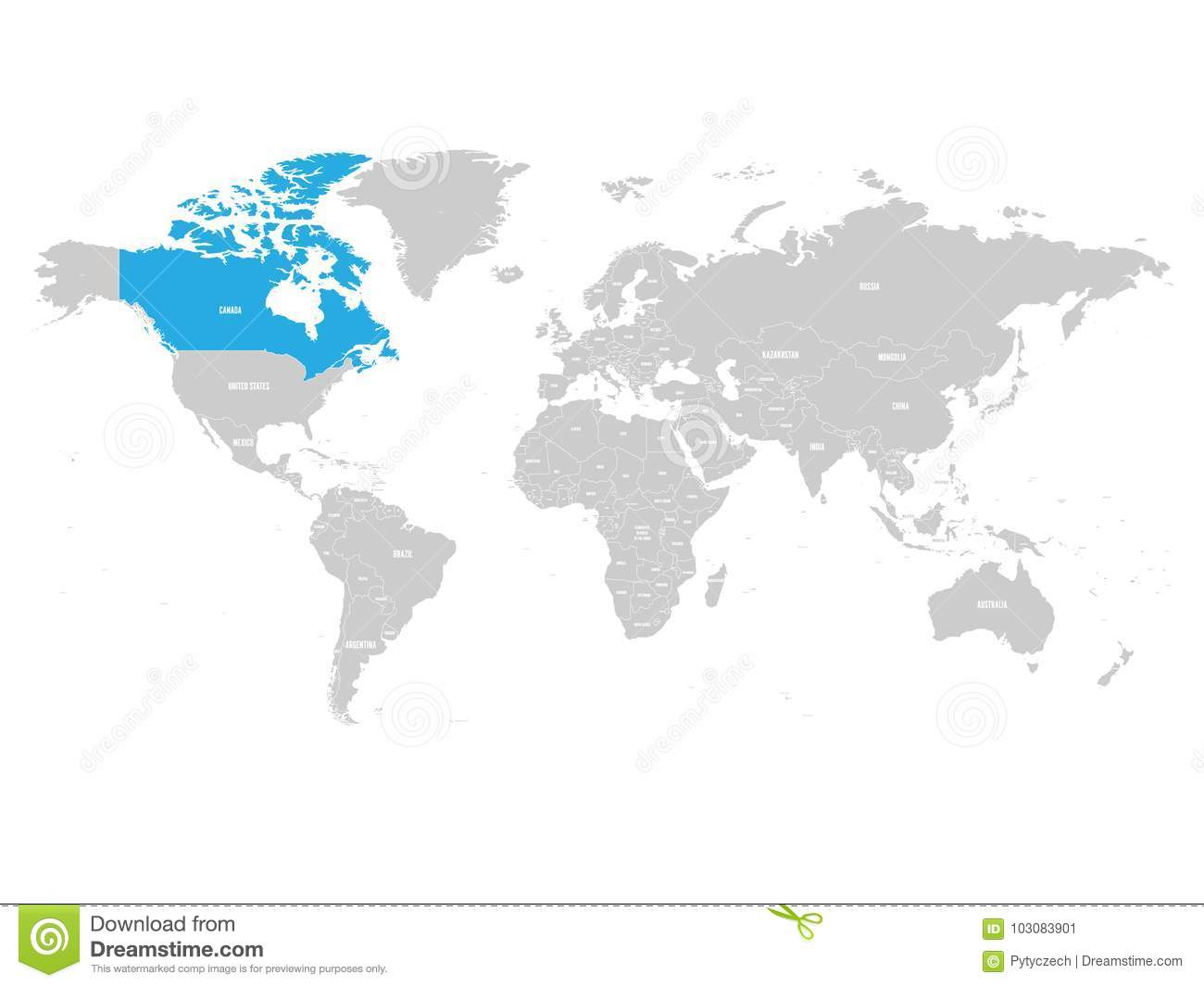 Canada On Map Of The World.Canada Marked By Blue In Grey World Political Map Vector