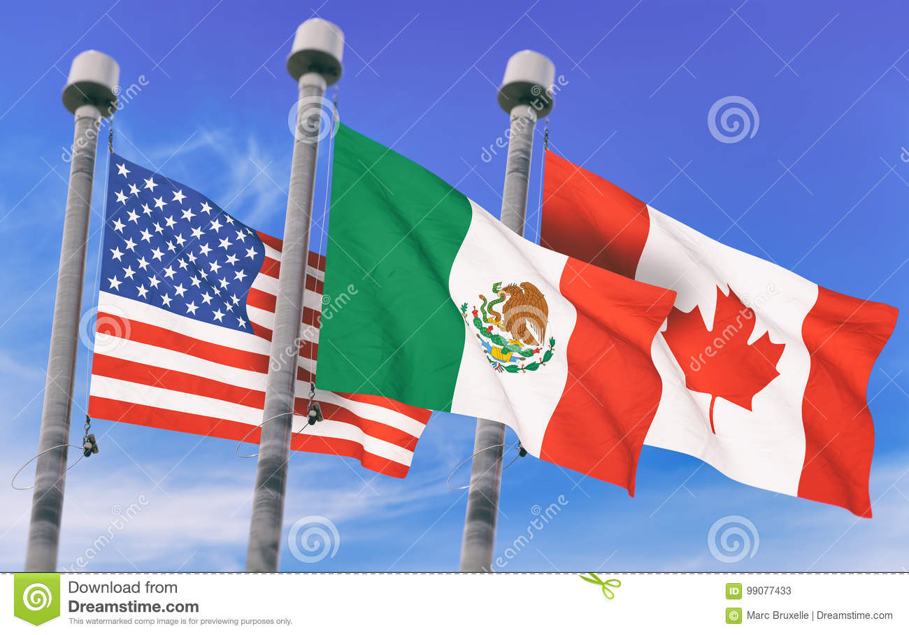 canada mexico and us flags stock illustration illustration of