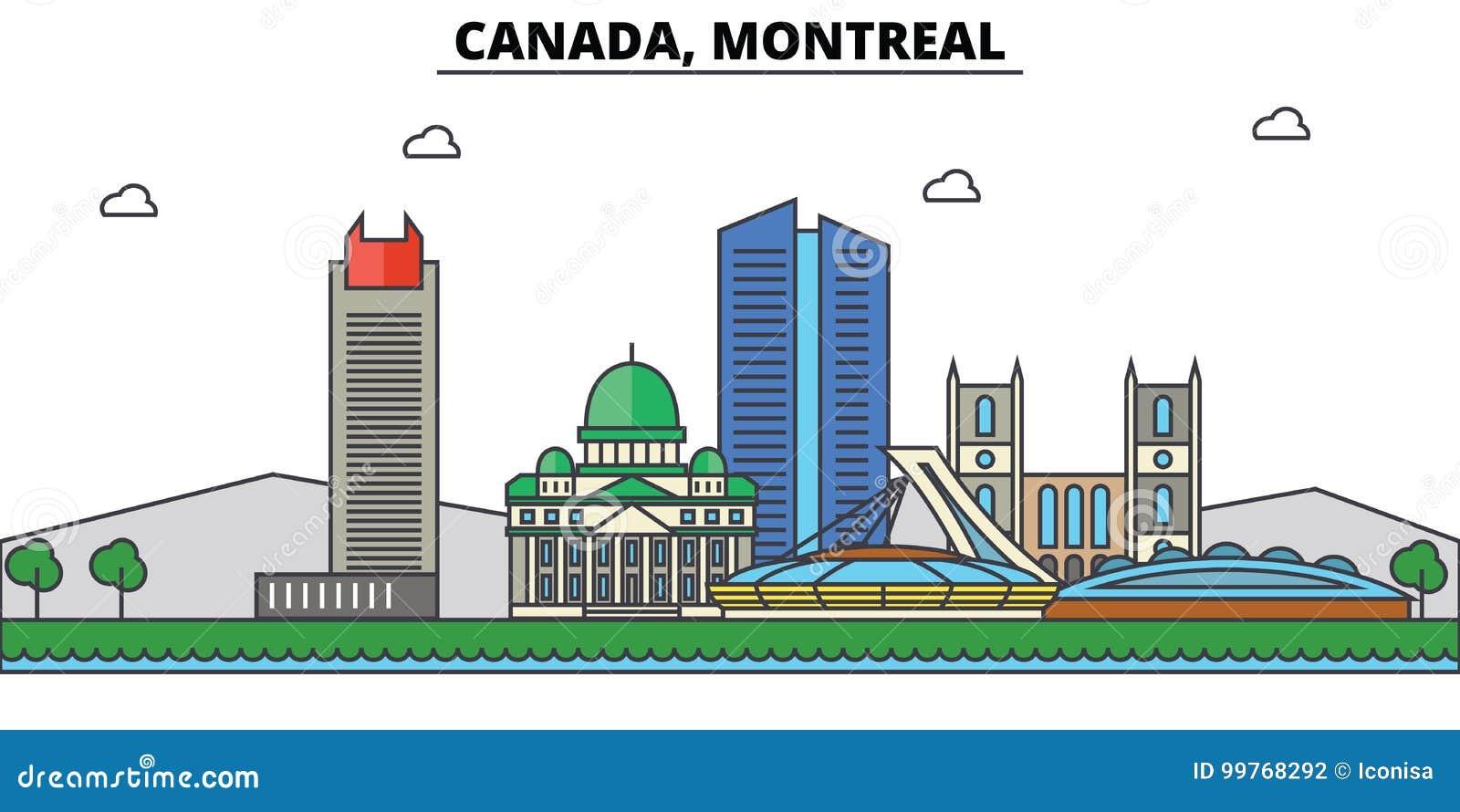 Canada, Montreal De architectuur van de stadshorizon editable