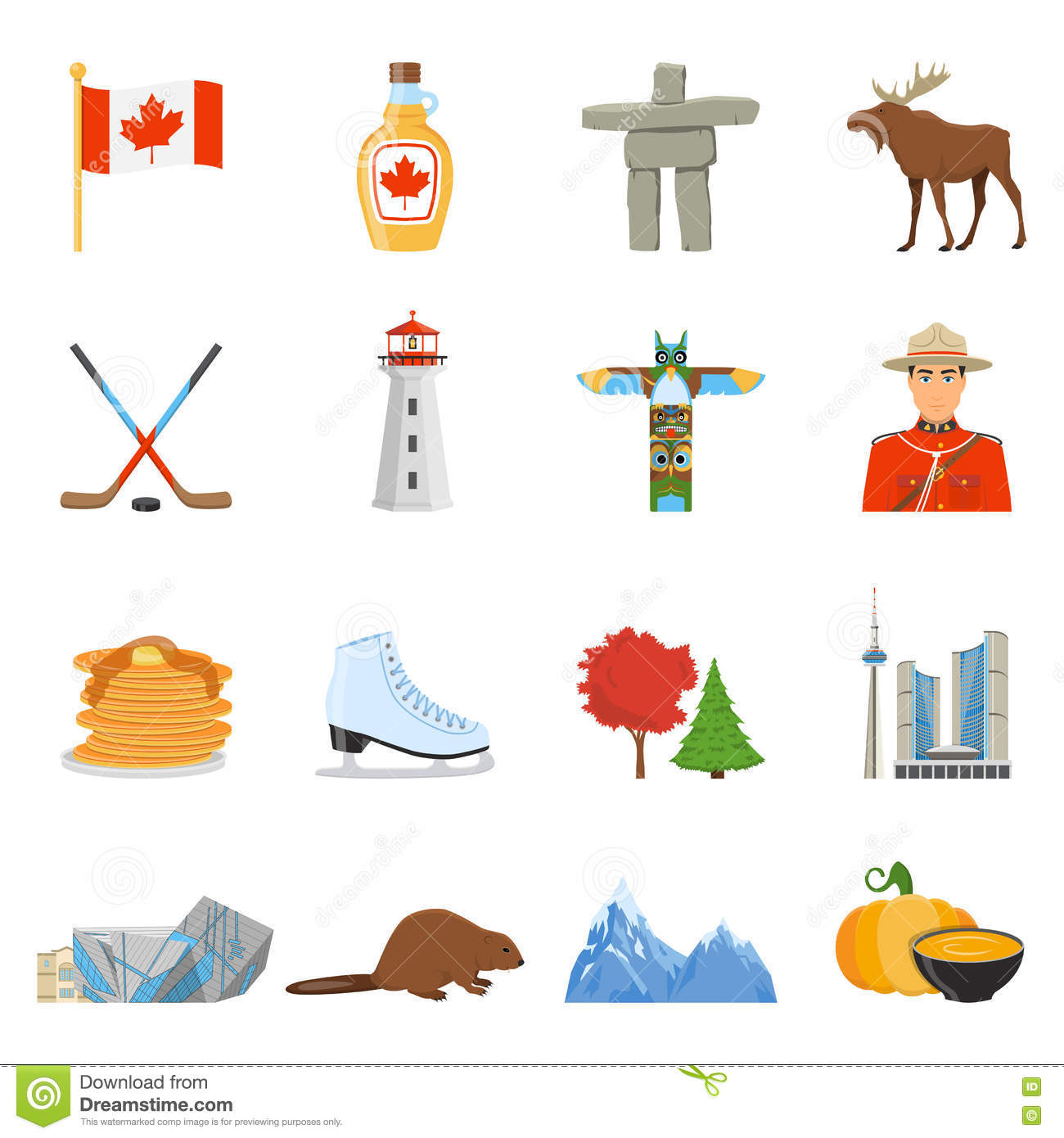 Canada National Symbols Flat Icons Collection Editorial Stock Photo