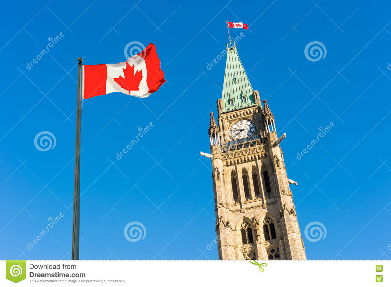 Canada Parliament and Canadian Flag